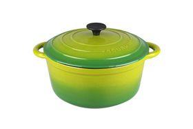 Gourmand - 4 Litre Round Cast Iron Casserole - Green
