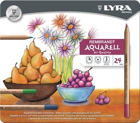 Lyra Rembrandt Aquarelle Pencils - 24 Colours in Metal Box