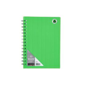 Meeco Neon Stripe A5 80 Ruled Sheets Spiral Bound Notebook - Green