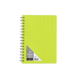 Meeco Neon Stripe A5 80 Ruled Sheets Spiral Bound Notebook - Yellow