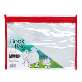 Meeco Book Bag with Zip Closure - Red Piping