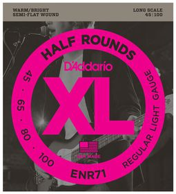 D'Addario ENR71 Half Round 4-String Long Scale Regular Light Bass Guitar Strings - 45-100