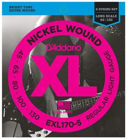 D'Addario EXL170-5 5-String Nickel Wound 5-String Long Scale Light Bass Guitar Strings - 45-130