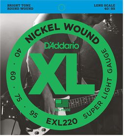 D'Addario EXL220 Nickel Wound 4-String Long Scale Super Light Bass Guitar Strings - 40-95