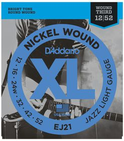D'Addario EJ21 Nickel Wound Jazz Light Electric Guitar Strings - 12-52