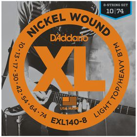 D'Addario EXL140-8  Nickel Wound Light Top/Heavy Bottom 8-String Electric Guitar Strings - 10-74