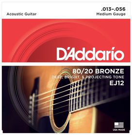 D'Addario EJ12 80/20 Bronze Medium Acoustic Guitar Strings - 13-56