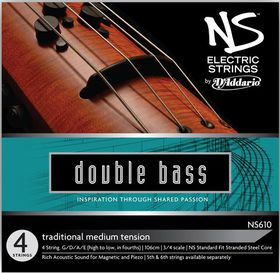 D'Addario NS Electric Traditional Medium Tension 3/4 Scale Bass String Set