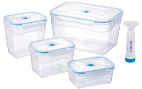 Stoneline 4 Piece Square Vacuum Saver Storage Containers - Blue
