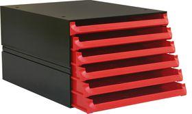 Bantex Texo Modular 6 Drawer Storage System - Red