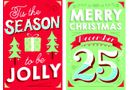 8 Mini English Cards - Festive Times Merry/Festive Times Jolly