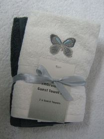 Zorbatex 2 Piece Butterfly Guest Towel Gift Set - White