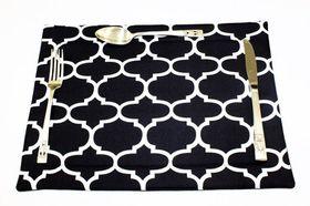 Balducci - 100% Polyester Amboise Design Placemats Set Of 6 - Black