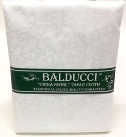 Balducci - China Swirl White Round Tablecloth - 6 Seater