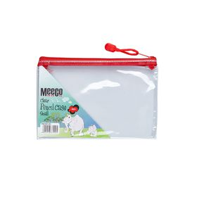 Meeco Clear Small (21cm) Pencil Bag - Red Zip