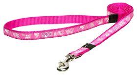 Rogz Fancy Dress Pink Paw Fixed Dog Lead - Medium
