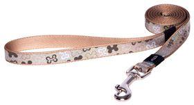 Rogz Lapz Trendy Brown Bones Fixed Long Dog Lead - Medium