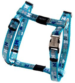 Rogz Lapz Trendy Blue Bones Dog H-Harness - Small