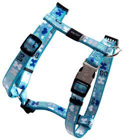 Rogz Lapz Trendy Blue Bones Dog H-Harness - Medium
