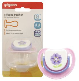 Pigeon - Silicone Pacifier Step 2 - Purple Flower