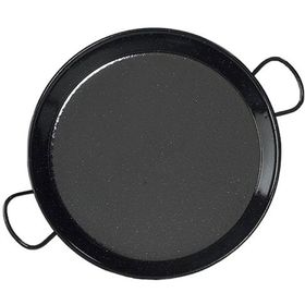 Perfect Paella - 36 cm Enamelled Mild Steel Paella Pan - Black