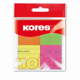 Kores Notes 38x50mm Multicolour Neon 4-Colour 50 Sheets