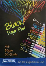 Marlin A4 Black Paper Pad 50 Sheets