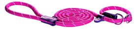 Rogz - Rope Large 1.2cm 1.8m Long Moxon Dog Rope Lead - Pink Reflective