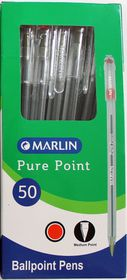 Marlin Pure Point Medium Transparent Ballpoint Pens - Red Ink (Box of 50)