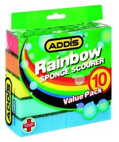 Addis Rainbow Sponge Scourer - 10 Piece