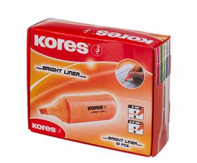 Kores Bright Liner Chisel Tip Highlighters - Orange (Box of 10)