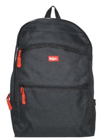 Lee Cooper Student Front Zip Compartments Backpack- Small - Black
