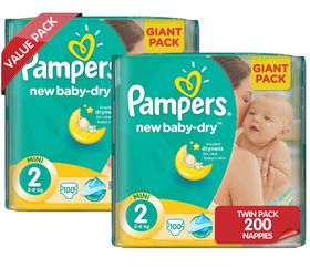 Pampers - New Baby Nappies - Size 2 - Twin Giant Pack (2 x 100 count)