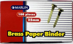 Marlin Brass Paper Binders 25mm 100's