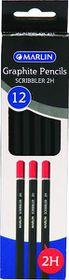 Marlin 12 Scribbler Black Barrel 2H Graphite Pencils