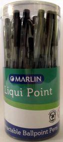 Marlin Liqui Point Retractable Ballpoint Pens - Black (Tub of 25)