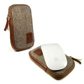 Tuff-Luv HerringBone Tweed Case for Apple Magic Mouse - Brown (Fits Magic Mouse 1 and 2)