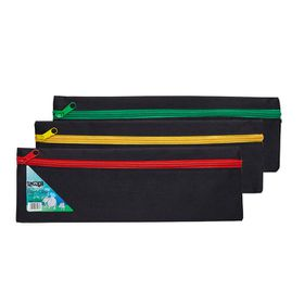 Meeco 33cm Nylon Pencil Bag - Black with Assorted Colour Zip