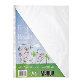 Meeco A4 30micron Filing Pockets - 10 Pack