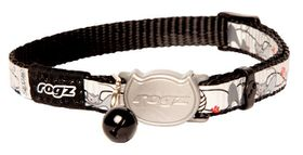 Rogz Reflecto Cat Reflective Safeloc Breakaway Collar - Black Cat Design