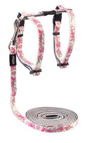 Rogz Glow Cat Reflective Glow-In-The-Dark Lead & H-Harness Combination - Pink Butterflies Design