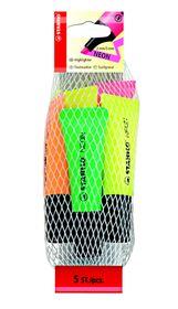 Stabilo Neon Highlighters 5 Pack (Yellow x2, Green, Orange, Pink)