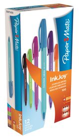 Paper Mate Inkjoy 100 Capped Ballpoint Pens - Assorted (Box of 12)