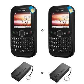 Alcatel 3003G 4MB 2G Black + Alcatel 3000 4MB 2G Black - Bundle incl. 2 x 1.2GB Starter Pack + 2 x Power Bank