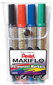 Pentel Maxiflo Bullet Tip Permanent Markers - Wallet of 4