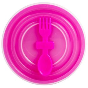 Lumo - Bowl with Slip Lid And Fork Spoon - Magenta
