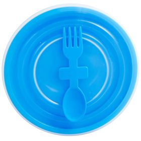 Lumo - Bowl with Slip Lid And Fork Spoon - Cyan