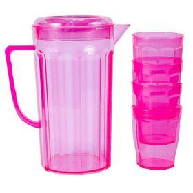 Lumo - Plastic Jug with 4 Tumblers - Neon Pink