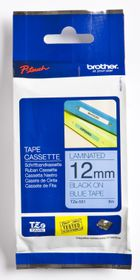Brother TZ-531 12mm x 8m Black on Blue Laminated Tape