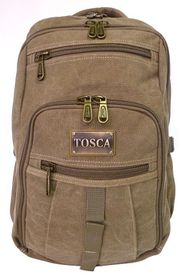 Tosca 15 inch Canvas Laptop Backpack - Khaki
